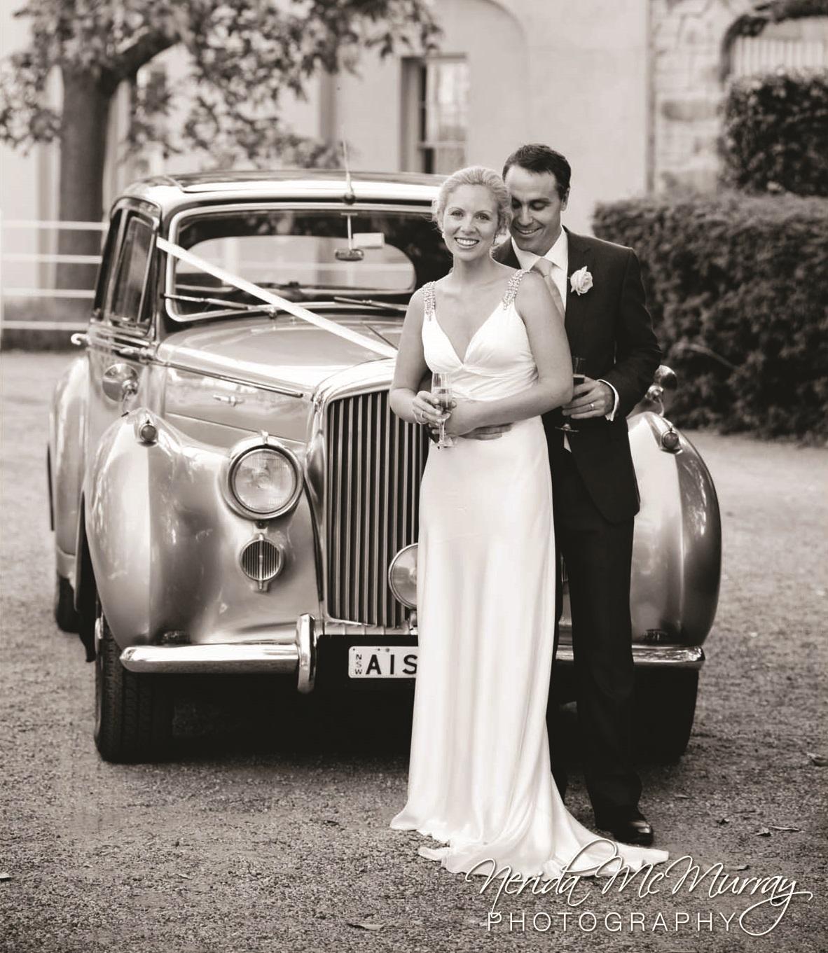 Classic 2 Tone Silver Vintage Wedding Car
