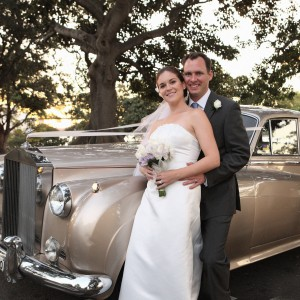gorgeous champagne classic 1950-1960 wedding car-airconditioned