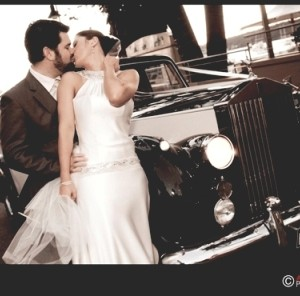 black and white classic wedding car for hire