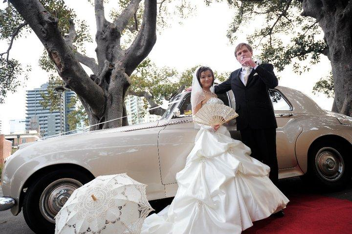 champagne Rolls-Royce wedding car for hire