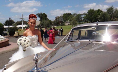 gold vintage wedding car