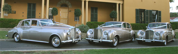 matching champagne classic wedding cars for hire