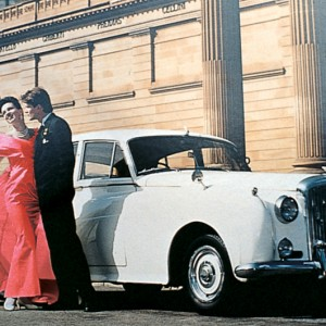 white 1950's classic wedding car for hire