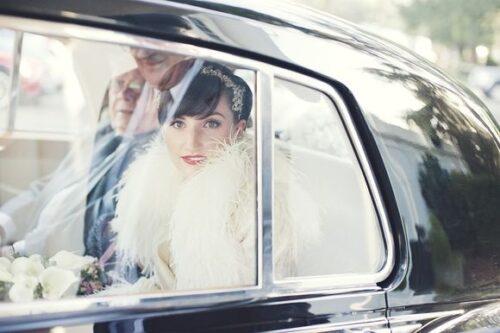 bride in vintage wedding car sydney