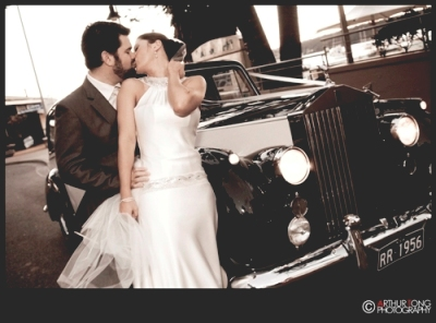A perfect backdrop for a celebrity style kiss - stunning black & white image