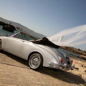 convertible wedding car for hire- classic jaguar