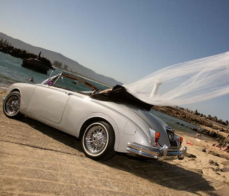 convertible wedding car for hire- classic jaguar