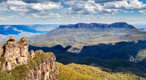 three sisters and valley in Blue Mountains