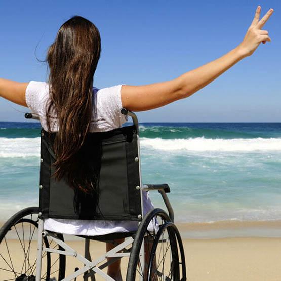 wheelchiar girl on sydney beach
