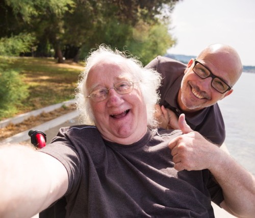 happy traveller in wheelchair